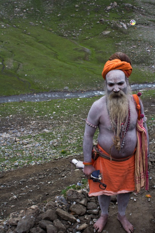 A Saint makes his way to  the Holy Shrine of Lord Amarnath in Kashmir, India